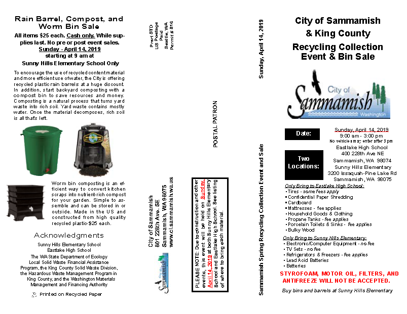 Sammamish Spring Recycling Collection Event and Bin Sale