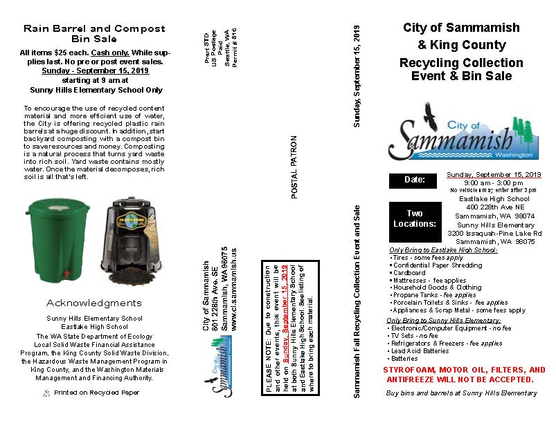 Sammamish & King County Fall Recycling Collection Event